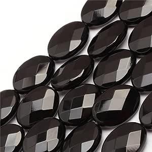 天然椭圆形刻面黑玛瑙 AA 级宝石散装散珠用于珠宝制作批发 一股 38.1 cm 13x18mm GI6871