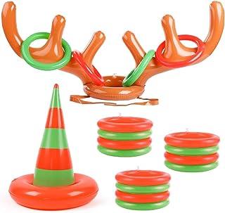 LovesTown 圣诞节充气投掷游戏,可充气鹿角帽和充气圣诞树帽,带 16 个环驯鹿环投掷帽,适合圣诞派对游戏