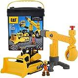 CAT 卡特彼勒 建筑拼装工程车组合 仿真工程车模型拼装玩具车拖拉机 初级拼装中号推土机 CATC80912(尺寸:12.7*21.59*25.72cm)