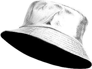 女式双面渔夫帽,时尚斜纹棉帆布皮革太阳钓鱼帽时尚帽,可收纳