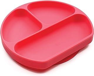 Bumkins 硅胶握盘,吸盘,分隔板,婴儿学步板,不含BPA,可用于微波炉,洗碗机-红色