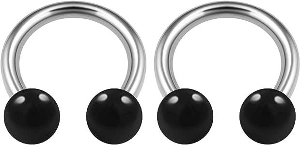 2 件*钢质马蹄形耳环 14 号 5/16 8mm 4mm 丙烯酸球唇钉耳环 铂金耳环珠宝选择颜色 2pcs 8mm ฺBlack