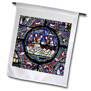florene décor II–fishes 奇迹教堂彩色玻璃–旗帜 12 x 18 inch Garden Flag