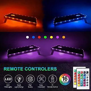 LED沙包灯,RGB 16种颜色变化沙包板边缘和环形灯带遥控器,家庭后院户外沙包投掷沙包游戏,礼物理想,防水,2件套