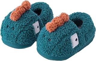 PJZHJ 幼儿拖鞋男孩女孩毛绒可爱儿童拖鞋恐龙室内房卧室鞋