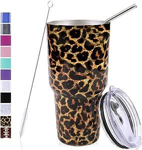 PUTING 不锈钢双层真空保温玻璃杯 76.2 毫升,适合家庭、办公室、学校、旅行礼品套装 豹纹色 30oz
