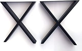 Alpha Furnishings 咖啡桌腿金属桌腿 X 形家具腿 16 英寸(约 40.6 厘米)黑色或镀铬 2 件套
