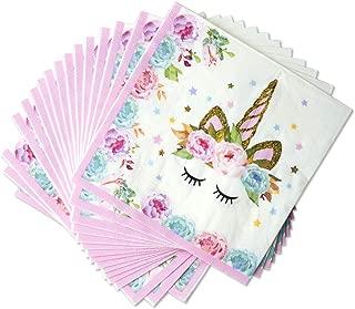 United Unicorns - 100 片装 - 女孩生日派对粉色独角兽餐巾 | 宝宝派对独角兽派对用品 | Unicorn Tableware 一次性纸巾