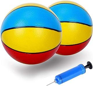 泳池篮球替换 8.6 英寸迷你泳池篮球沙滩小弹力球室内户外运动玩具适用于所有标准游泳池篮球篮球篮球泳池游戏玩具水上游戏(2 个球 1 个泵)