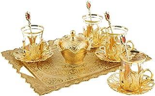 土耳其茶杯套装,带装饰金属玻璃架、碟子、带盖糖碗和碗 4 瓶装,3.3 盎司 金色