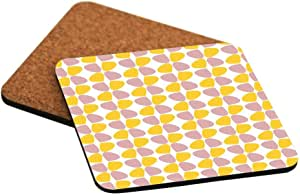 Rikki Knight Petals Leaves - Rosa Beige - Yellows - Fall Winter Design Cork Backed Hard Square Beer Coasters, 4-Inch, Brown, 2-Pack