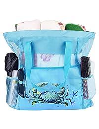 网状沙滩包玩具手提包市场杂货和野餐手提包带超大口袋