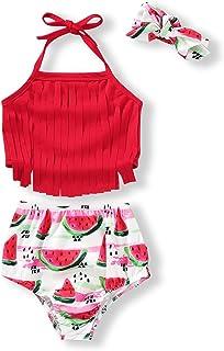 女婴婴儿泳装流苏花卉 Pinapple Bowknot 泳衣泳衣比基尼套装夏季套装