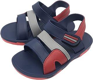 lakiolins 男童女童 3 条带渔夫凉鞋一脚蹬探险者沙滩鞋