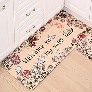 ALSOMTEC 门垫入口门垫套装垫长厨房垫门垫吸水脚垫浴室垫卧室垫(欢迎小鸟) 20'' X 47.2''