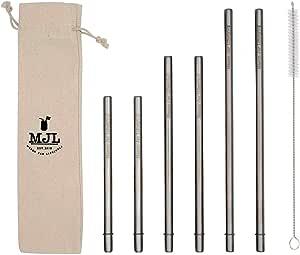 更*的圆端不锈钢金属吸管,适用于大杯、高玻璃或夸脱梅森罐,4 包 + 清洁刷 银色 Combo 6 Pack