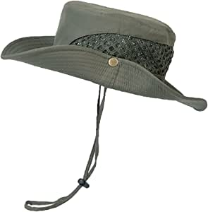 Boonie Sun Safari 帽子太阳帽钓鱼帽男女青少年帽,*和透气桶帽,适合户外运动和旅行,UPF 50+ 保护夏季帽。YR.Lover (56.83 英寸) 均码 绿色 YRMZ002-Army green