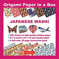 Origami Paper in a Box - Japanese Washi Patterns 200 sheets: 6x6 Inch High-Quality Origami Paper & 32-page Instructional Book