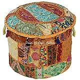 Stylo Culture 棉布抹胸 40.64cm 拼接刺绣软垫凳 Pouf 封面黄色花卉足底垫套 民族装饰