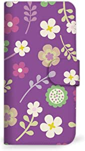 Mitas 智能手机壳 手册式 花 花纹 花朵图案 花MIR-0029-PU/IS13SH 4_AQUOS PHONE (IS13SH) 紫色