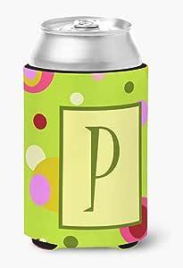 字母 P 首字母交织字母 - 绿色罐或瓶子饮料保温器 Hugger