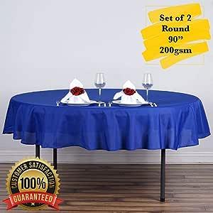"""PrimeLyne 圆形涤纶桌布,防皱桌布,适合婚礼、自助餐、餐厅,2 件套 皇家蓝 90"""" Round"""