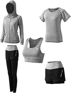 女式 5 件套瑜伽服,运动服,运动套装,健身跑步运动服