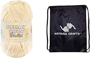 Bernat Baby Blanket Big Ball Yarn (1-Pack) Vanilla 161104-04008 with 1 Artsiga Crafts Project Bag