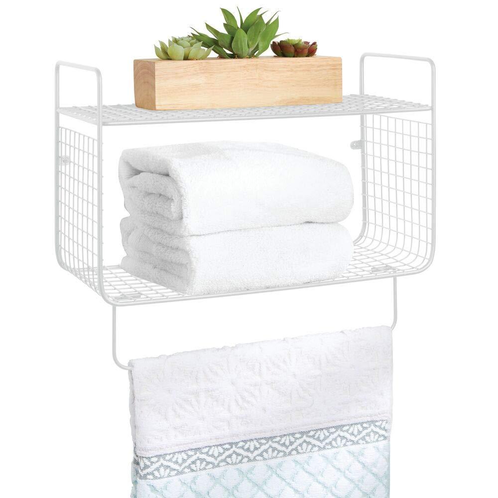 mDesign 金属线农舍墙壁装饰存储收纳收纳架 2 层架带毛巾杆,适用于浴室、洗衣房、厨房、车库 - 壁挂 - 白色