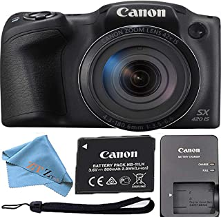 Canon 佳能 Powershot SX420 是20万像素Wi-Fi数码相机,42倍变焦(黑色)ZeeTech 套装CNSX420 Cloth Only