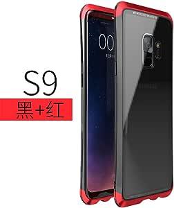 三星 Galaxy S9 手机壳,LWGON 独特设计 Guardian 系列原装铝合金金属防震防震保护壳带硬质塑料PC后盖适用于三星 Galaxy S9 3Glass 红色