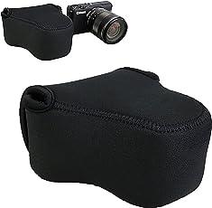 "JJC 4.4""x2.7""x4.4"" 相机包适用于佳能 M100 M6 M10 M3 M2 相机机身 + EF-M 15-45mm 镜头/11-22mm/18-55mm 镜头/适用于 Nikon 1 J5 J4 J3 J1 + 10-100mm/30-110mm 镜头 Coolpix L820 L810 -黑色"