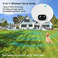 NACRL 无线狗围栏,宠物封闭系统,高达1640英尺(约40.6米)控制范围,防水,可调节和可充电2合1套装,户外狗用电动隐形围栏 白色