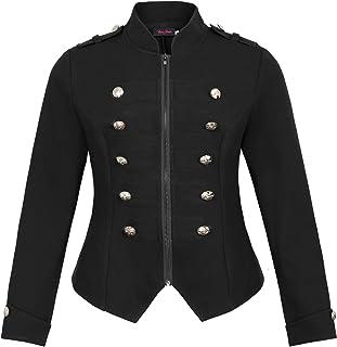 女式加大码维多利亚时代拉链立领军款轻型夹克外套