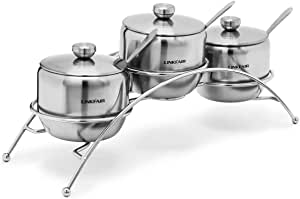 LINKFAIR 凌丰 玛莎系列0.45L调味罐四件套 304不锈钢调味罐组合/糖罐套装配架子配调料勺 LFWG-MS045T4