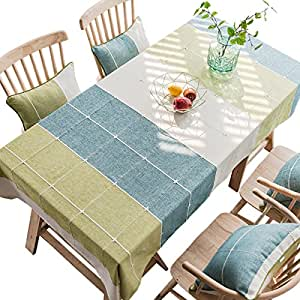 """Bettery 纯色棉麻格纹桌布长方形桌布 132.08 x 177.8 厘米,绿色和蓝色 绿色和蓝色 52"""" x 94"""" YINSHANG_006_SanYueLv_130x240"""