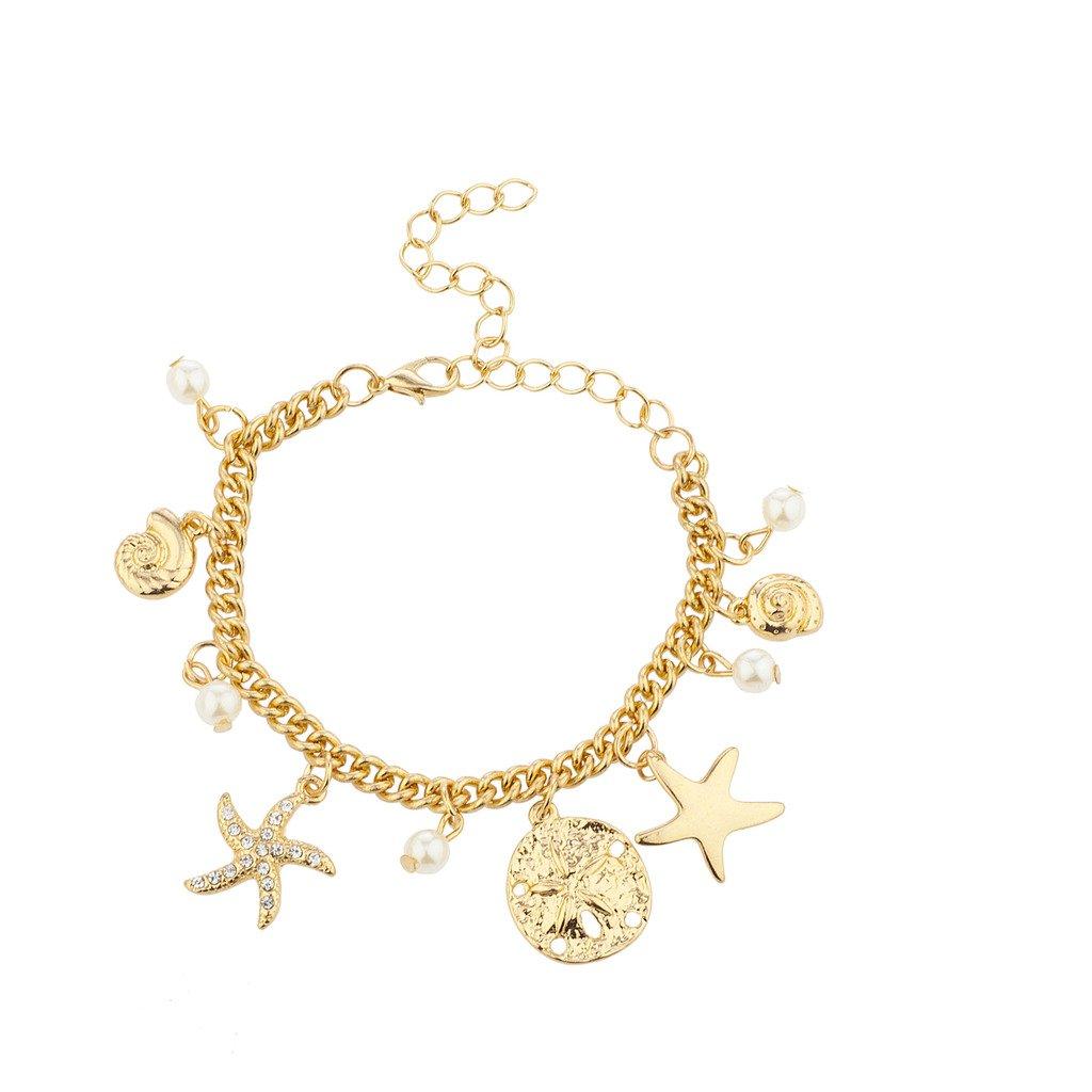 Lux Accessories 金色调海铃仿珍珠航海魅力手链