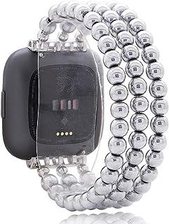 C&L 配件腕帶兼容 Fitbit Versa 2 帶 Versa 腕帶/Versa Lite 表帶,手工串珠赤鐵礦時尚首飾手鏈,適合女士女孩(銀色)