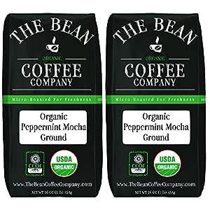 The Bean Coffee Company Organic Peppermint Mocha, Medium Roast, Ground, 16-Ounce Bags (Pack of 2)