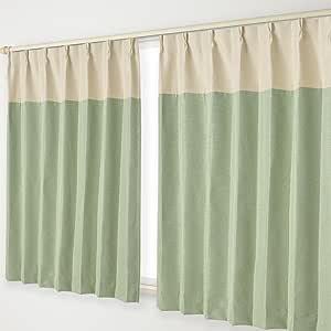 遮光窗帘 B挂钩 12.ベージュヘッド×緑 幅125×丈105cm 2枚組 -