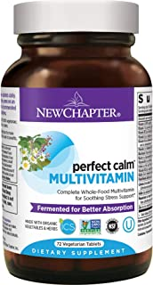 New Chapter Perfect Calm - Daily Multivitamin for Stress & Mood Support with B Vitamins + Holy Basil + Lemon Balm + Organic Non-GMO Ingredients - 72 Count