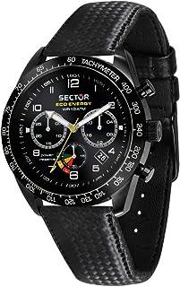 Sector 男式 '695' 自動不銹鋼和皮革運動手表,顏色:黑色(型號:R3271613001)