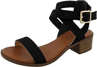 Top Moda 女士 Vision-75 踝带露趾高跟凉鞋