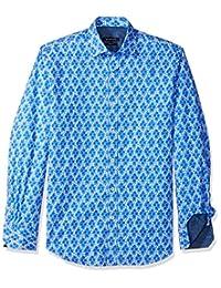 Bugatchi 男式长袖印花修身尖领衬衫