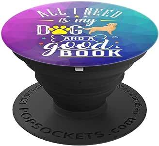 Golden Retriever 狗狗书籍阅读礼物 PopSockets 手机和平板电脑握架260027  黑色