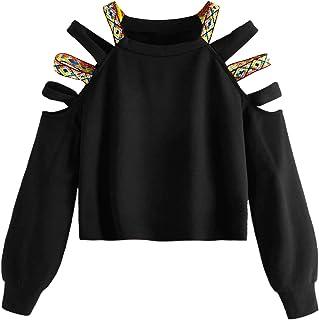 SOLY HUX 女式休闲镂空肩长袖套头运动衫
