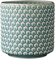 Bloomingville 扇形圆形陶瓷花盆,天蓝色