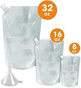可重复使用的巡游走*瓶 - 带漏斗 - 非金属,不含 BPA 塑料*精盒,缓震至体育场、音乐会、戏剧 - 可折叠,不可察觉 - Glone 出品 3 Pack Variety - 1 Each of 32oz, 16oz & 8oz