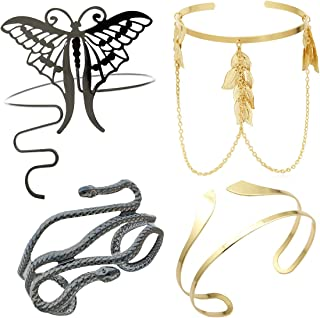 RechicGu Pack 4 件套 Grecian Cleopatra 手链套装 臂带 上臂 二头肌 袖口带 缠绕 手镯 臂章 可调节肚皮舞