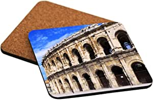 Rikki Knight Roman Arena in Nimes France Design Cork Backed Hard Square Beer Coasters, 4-Inch, Brown, 2-Pack